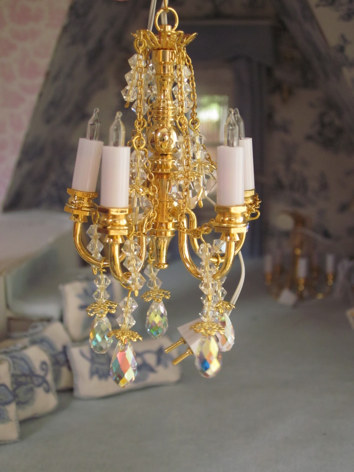 hanging size miniature dollhouse full diy basket furniture of wire chandelier
