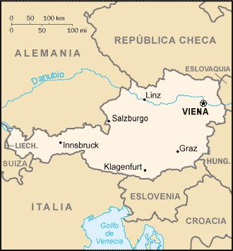 Mapa ciudades importantes de Austria