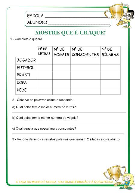 Atividade Copa do Mundo Brasil 2014 1° Ano