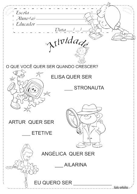Atividade Dia das Crianças Sugestão de Teste Vocacional