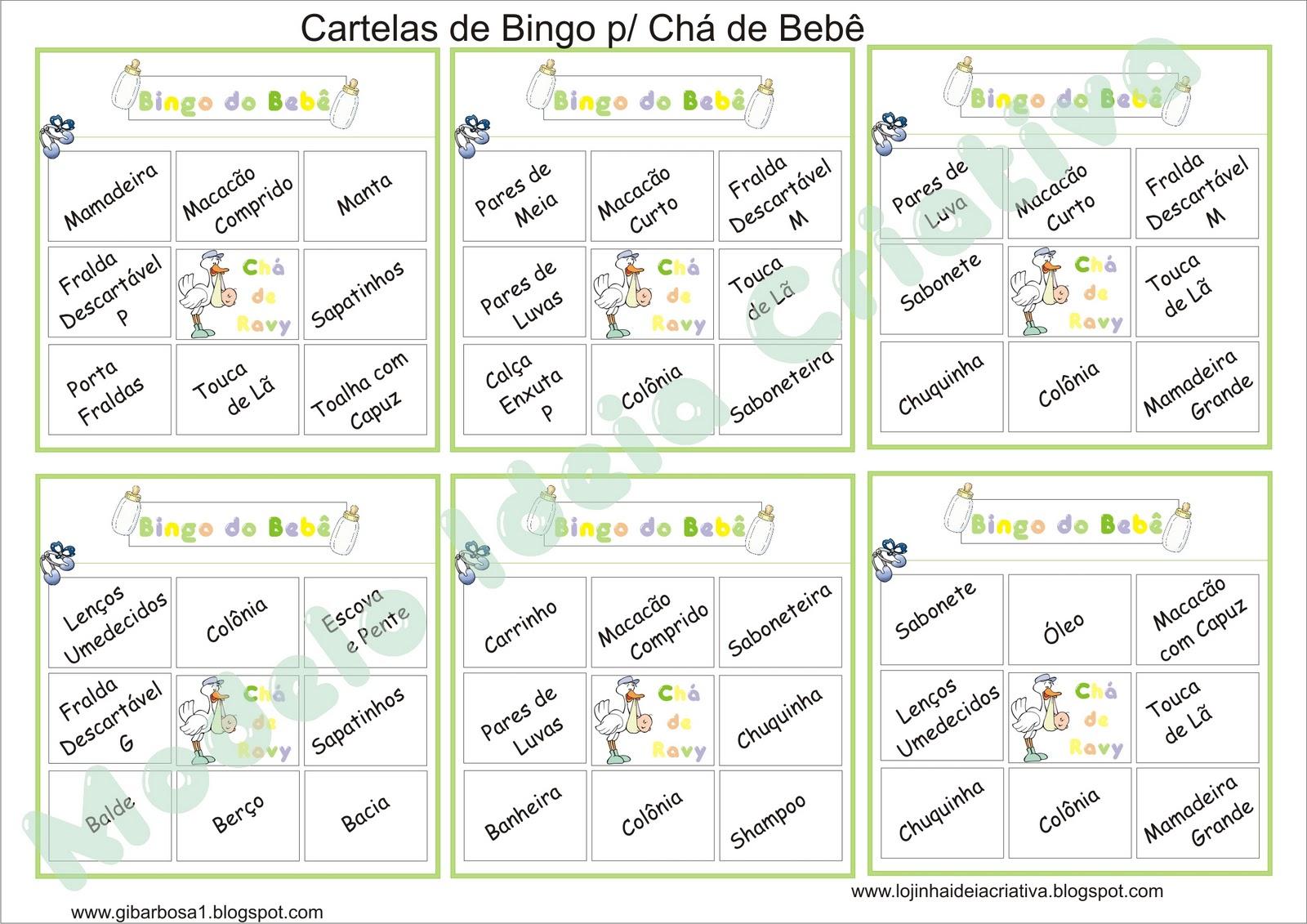 Descri    O  Cartelas Pra Bingo De Ch   De Beb