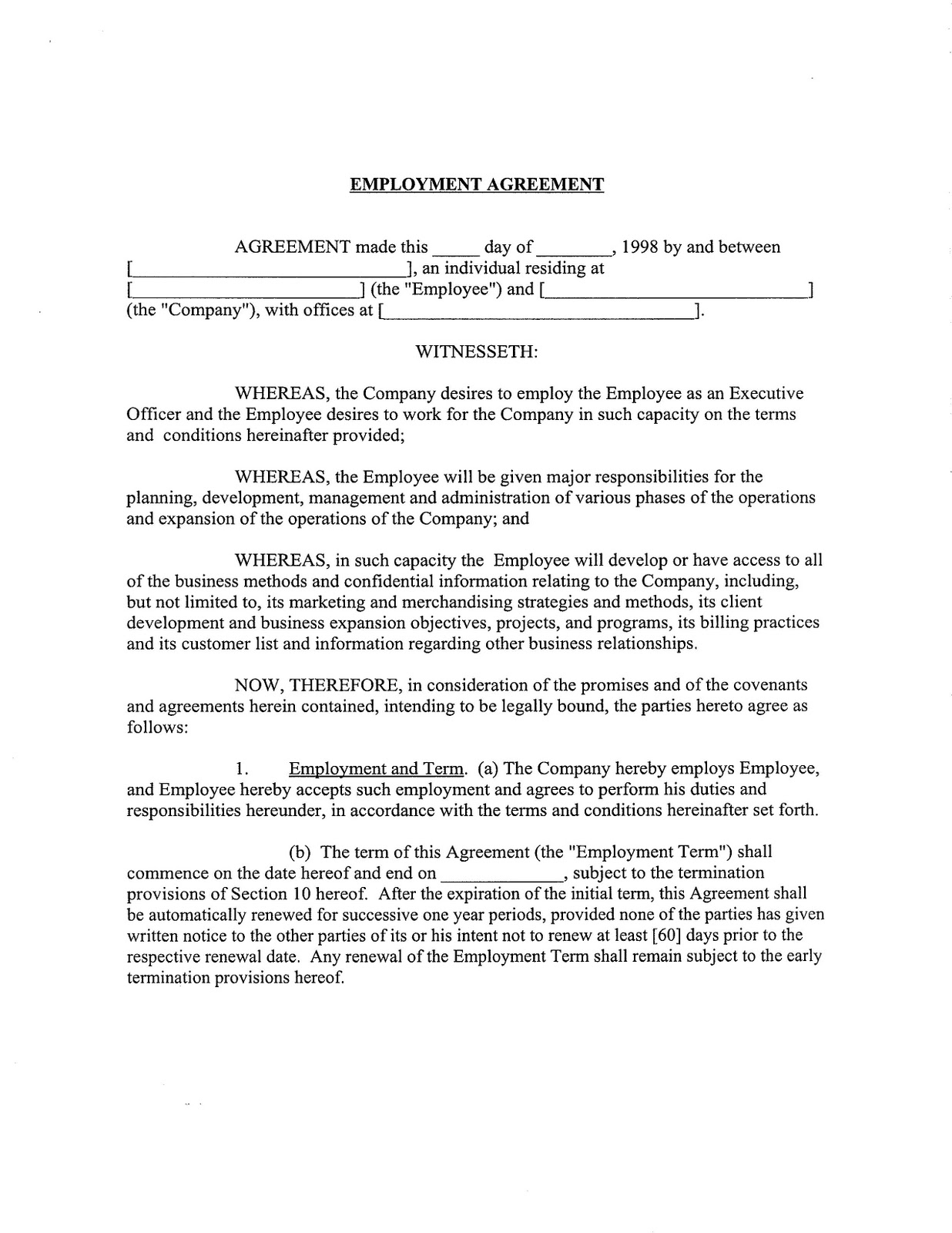 Employment Agreement Form: