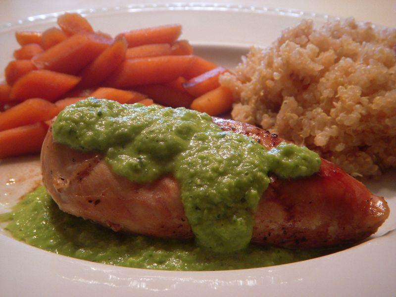... Home by Dawn's Designs: Honey Chicken with Green Pea and Mint Sauce