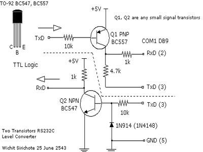 Simple RS 232 Level Converter using Transistors Schematic