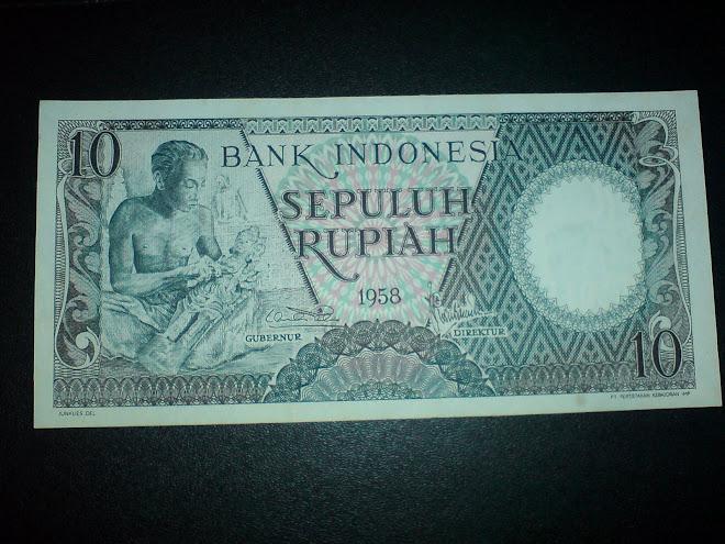 seri pekerja tangan 10 rupiah tahun 1958