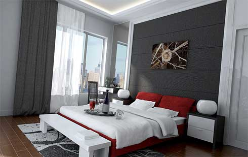 Modern-bedroom-with-big-bed-red-pillows-picture-on-the-wall-sphere-table-lamps