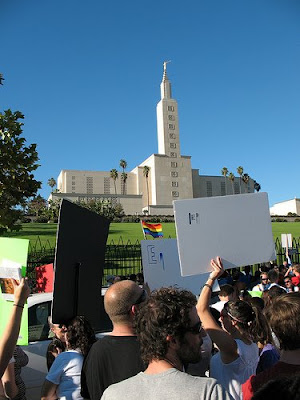 Pictures of Gay Marriage Protesters at Los Angeles Mormon Temple