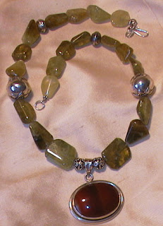 grossular garnet, agate and sterling silver