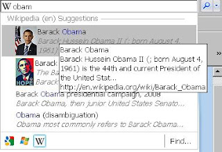Visual search in internet explorer 8