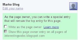 Google Sidewiki entry as page owner