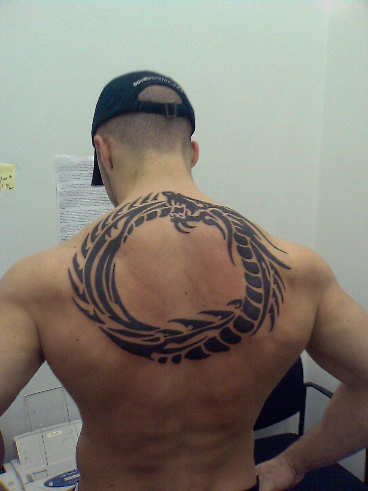 Back Black Tribal Ring Dragon Tattoos Desaign For Men