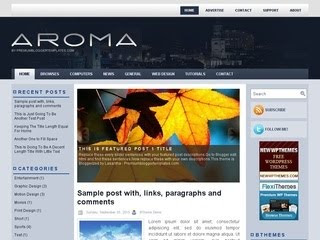 Aroma Blogger Template is free template with 2 Sidebar, 3 Column, Adapted from Wordpress, Blue, Featured  Section, Fixed width, Header Banner, Left Sidebar, Magazine, Right Sidebar,  Slider, Top Navigation Bar, Web 2.0, White.