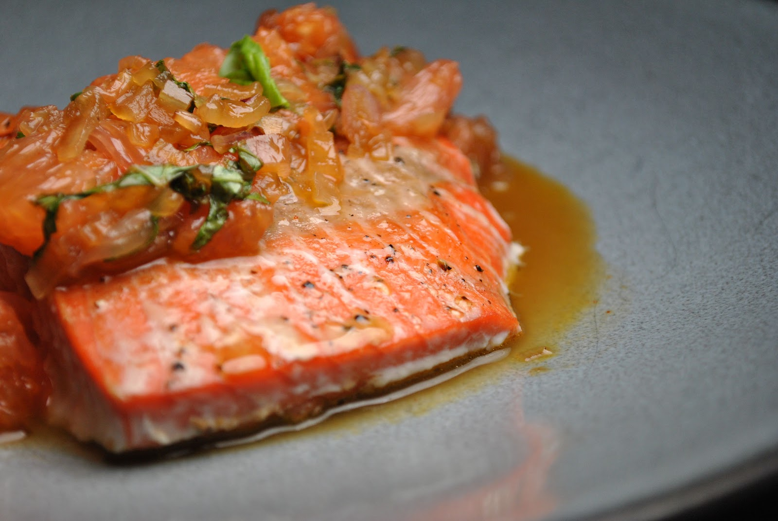 My Table, Their Table: Roasted Salmon with Shallot-Grapefruit Sauce