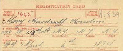 World War I Draft Registration Card of Harry Houdini (detail)