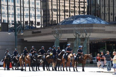 Friendly Police on Horseback on the 16th Street Mall - DNC in Denver