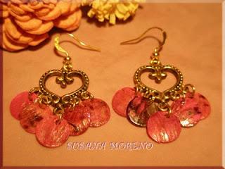 pendientes corazon nacar rosa