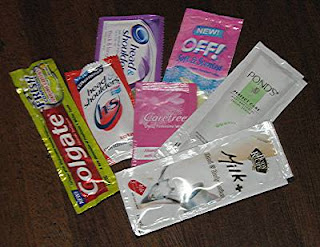 toiletry products in sachets