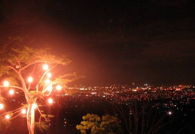 the lights of Metro Manila as seen at night from the hills of Antipolo City, Rizal