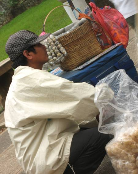 chicharon and balut vendor in Burnham Park in Baguio City