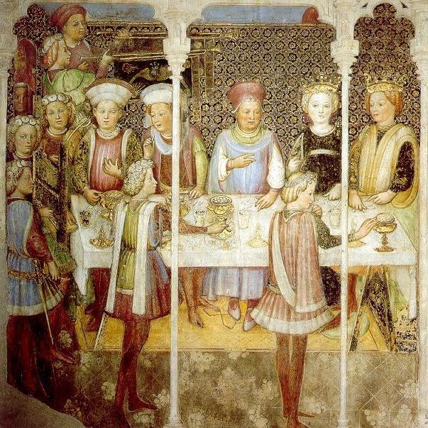 Schilderij van Gebroeders Zavatarri, Huwelijksfeest, Fresco in de Capella di Teodolino in de duomo van Monza