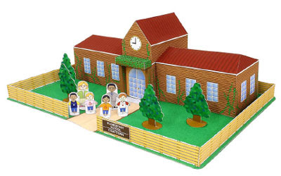 school building papercraft