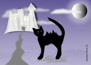 illustration halloween chat noir chateau lune