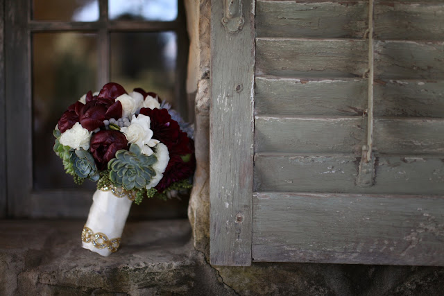 burgundy peony-succulent-gardenia-bouquet