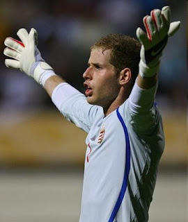 Liverpool's Hungarian goalkeeper Peter Gulacsi MTK Hungaria