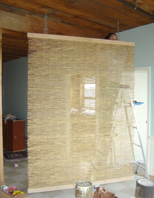 Room divider diy tropical style sallygoodin for Homemade room divider ideas