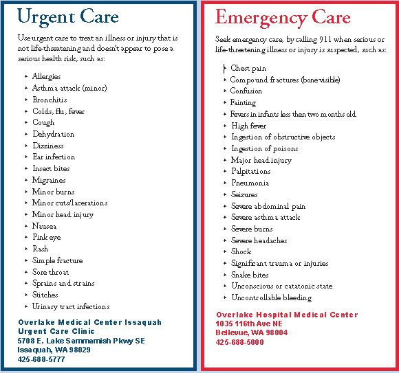 Redmond Neighborhood Blog: Urgent vs. Emergency Care