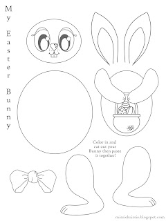 Missie Krissie Free Easter Bunny Colouring Cut Out Pages