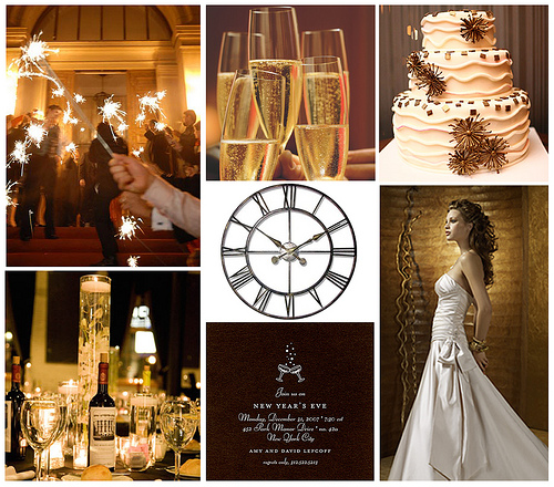 The classic gold champagne and brown palette