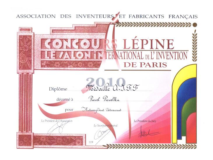 Počasna medalja za AVM od Saveza inovatora i fabrikanata Francuske
