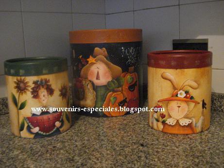 Tarros De Carton Pintados Con Acrilicos   Para Cocina Con Los Mas