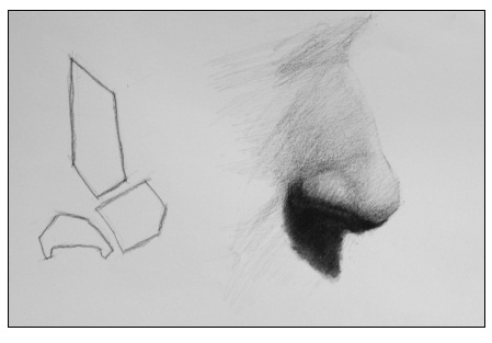 how to draw a basic nose