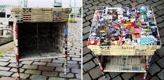 objetos feitos com rolinhos cones de jornal reciclagem