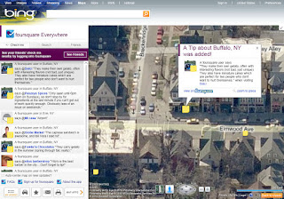 Bing Foursquare map app screen shot.