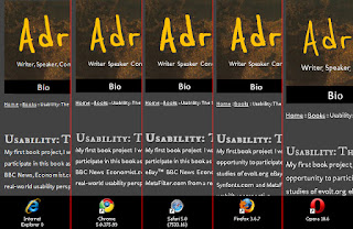Screen shot of my (development) site with font styles as seen by different browsers.