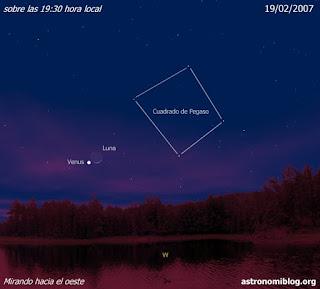 La Luna y Venus el 19/02/2007 al anochecer