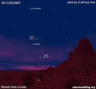 La Luna y Venus los días 20-21/03/2007