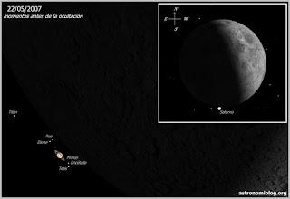 Ocultación de Saturno por la Luna 22/05/2007