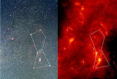 Orión y la Vía Láctea en el visible y en el infrarrojo