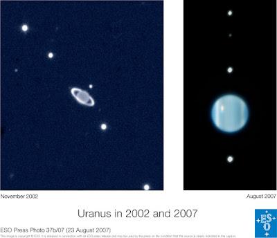 Urano y sus anillos de perfil II