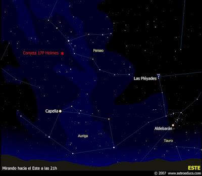 Carta de localización del cometa 17P/Holmes