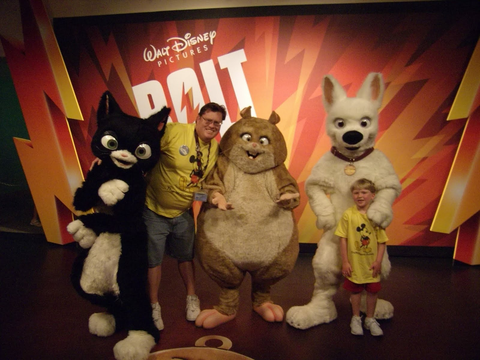 Williams family the 3 or more characters challenge heres the husband and boy with the characters from bolt this was at the magic of disney animation this meet and greet was replaced by the characters of m4hsunfo