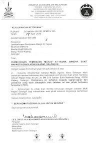Alhamdullilah..surat kelulusan JAIS utk Masjid At-Taqwa,Bdr Bukit Mahkota