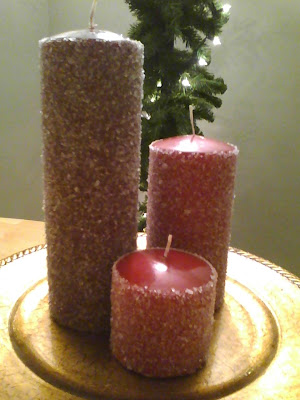 DIY Easy Frosted Candles Hostess Gift=