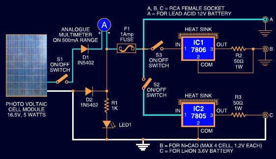 Solar Charger Circuit For Lead Acid  Ni