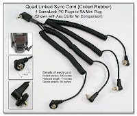 Quad Linked Sync Cord (Coiled Rubber) - 4 ScrewLock PC Plugs to RA Mini Plug