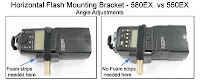 PJ1007: Horizontal Flash Mounting Bracket - 580EX vs 550EX- Angle Adjustments